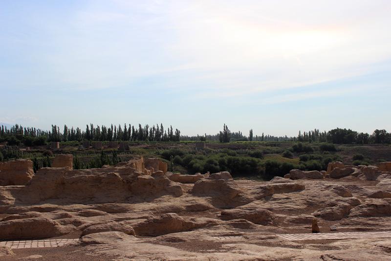 交河故城遗址与绿洲。摄影:宋燕函