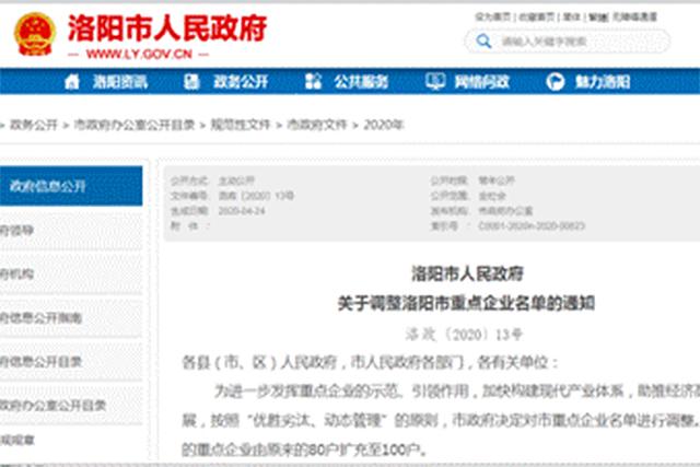 河南杭萧入选河南省洛阳市重点企业名单